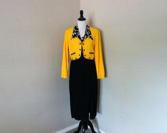 Vintage 1990s Dress by Menu, Size 14 Belted Black Dress with Letter Print Top and Bright and Bold Yellow Jacket with Letter Print Collar