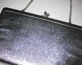 Ande Silver Metallic Clutch Evening Bag Purse 1960's Vintage