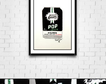 Microbrew Series Original Framed Matted Painted Illustration with Glitter Pop Gun Pilsner
