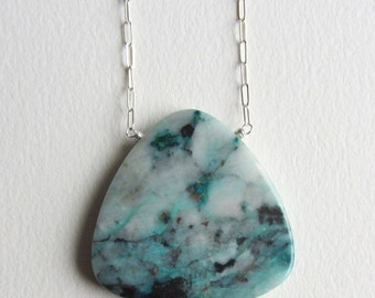 Chrysocolla Statement Necklace with Fancy Sterling Silver Chain Handmade in Seattle Blue and White Jewelry Natural Smooth Gems Perfect Gift