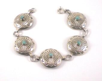 Turquoise Bracelet - Sterling Silver Bracelet -Vintage Southwestern Jewelry - Link Bracelet