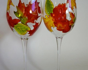 Autumn Leaves Wine Glasses Hand Painted  set of 2