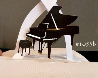 Grand Piano Pop-Up Card 180 degrees with HEART -ITEM 1053