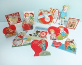 Lot of 12 Vintage Valentine's Day Cards from the 1930s, Pirate, Dog, Airplane, Drum, Lion, Fishing and More, Die-Cut