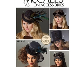 Steampunk Accesories - McCalls M7335 - Steampunk Hat Sewing Patterns - Top hat, Fashion Hats