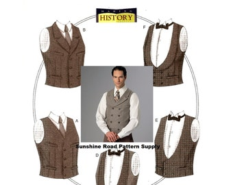 Single or Double-Breasted Mens Historical Vests - Butterick B6339 Sewing Pattern - Size 34 -44 or 46 -56