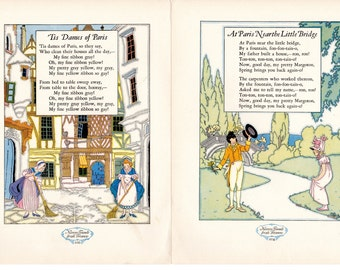 Paris France Illustrated Poems Two Pages 'Tis Dames of Paris At Paris Near the Little Bridge Nursery Friends From France