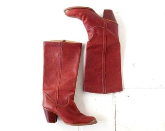 Vintage Zodiac Boots / Brown Leather Boots / 80s Boots / Size 10