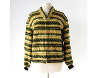 Vintage Norwegian Sweater | Fleece Jacket | 60s Cardigan | M L