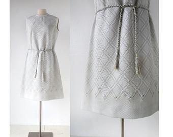 Vintage 1960s Dress / Futuristic Goddess Dress / Silver Mod Dress / 60s Dress / Large L