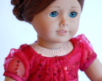 """American Girl Doll Clothing: Red Sparkle Party Dress with accessories, American Girl Doll dress, Fancy Dress for 18"""" dolls, ag doll dress,"""