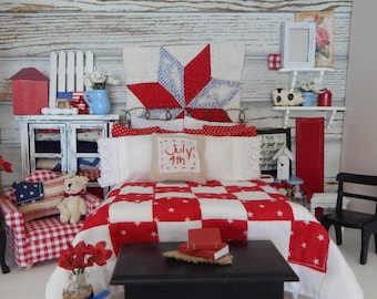 Miniature Americana Red and White Quilt, Wall Hanging, full Bedding set and Bed-Dollhouse Miniature 1:12 scale