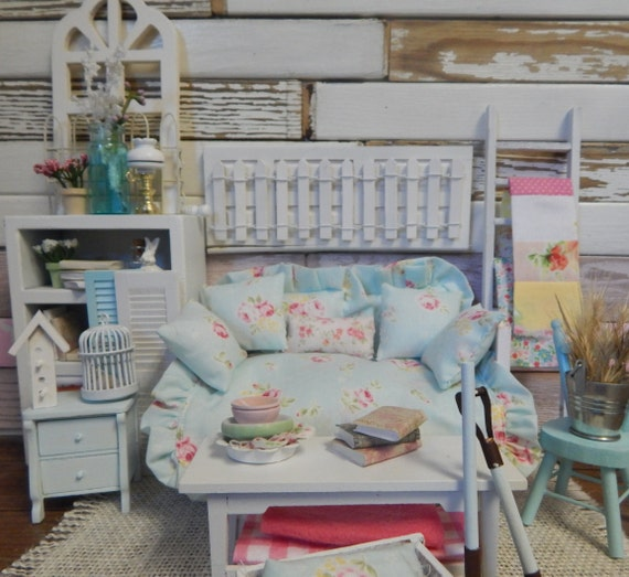 Miniature Shabby Style White Daybed and Aqua Pillows and Bedding set-Dollhouse 1:12 scale