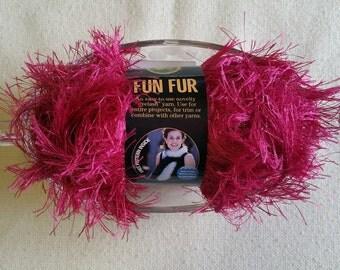 MS005 - Fun fur yarn Eyelet yarn Raspberry yarn Lion Brand