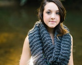 KNITTING PATTERN Extra Long Infinity Scarf //PDF Wrapped Snood Cowl Scarf Pattern