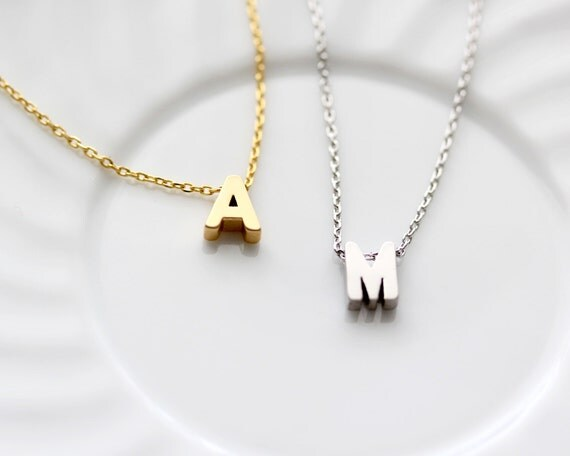 initial necklace silver or gold uppercase letter charms personalized bridesmaid gift wedding minimalist monogram initial necklace