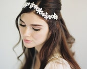 Bridal Halo, Swarovski Crystal Halo, Gilded Halo, Gold Halo, Boho Halo, Retro Halo, Crystal Halo, Floral Headband, Bridal Head Piece, #1601