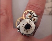 Steampunk Ring, Steampunk Owl Ring, Wise Owl Ring, Adjustable Ring, Gift for Her, Novelty Ring