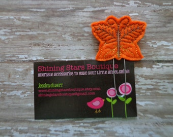 Felt Planner Clips For Girls - Bright Orange And Brown Fall Leaves Butterfly Paper Clip Or Bookmark - Thanksgiving Or Autumn Accessories