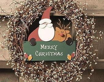 "Santa & Rudy Christmas wreath, 18-20"", personalized"