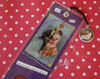 Now Now.  Laminated  collage bookmark.