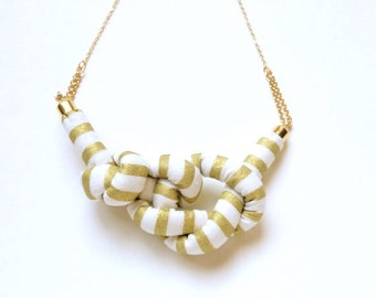LAST ONE  - Stripe Rope Knot Necklace - GOLD