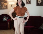 Vintage 1940s Blouse - Charming Burned Orange Silk 40s Top with Copper Braided Buttons