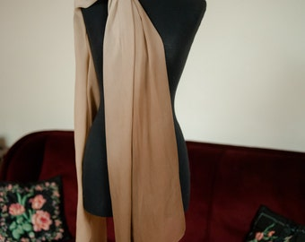 Vintage 1950s Scarf - Massive Extra Large Ombre Silk Chiffon Scarf in Brown, Ivory and Taupe 34 x 88