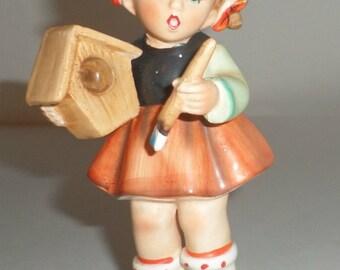 Vintage Enesco Girl Painting Figurine -  Figurine - Made In Japan - Girl Painting a Birdhouse -  Hummelesque Girl Figurine - Shelf Decor