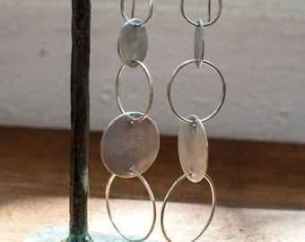 Yin Yang Long Sterling Silver Linked Hoop Earrings - Rustic - Boho Chic - Long Dangle Earrings - Organic Hoops