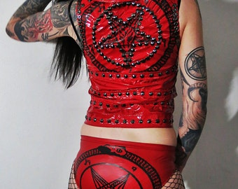 Hell Couture Red Pentagram Vinyl Moto Vest