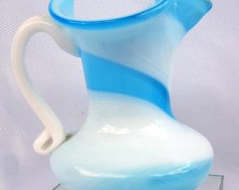 Vintage KANAWHA  Pitcher Creamer Vase Hand Blown Art Glass Slag Swirl Blue White Applied Handle Ruffled Rim DDB7 Etsy