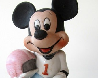 Mickey Mouse Football Player Figurine Porcelain Vintage  Collectible Walt Disney Productions Helmet Ball