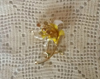 Vintage Brooch, Huge, Enamel,Yellow, Flower Power Iris, Rhinestones, Pin, Brooch, Mint Condition
