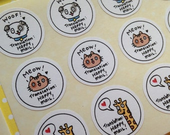 50 Happy Mail Animal Translations Stickers