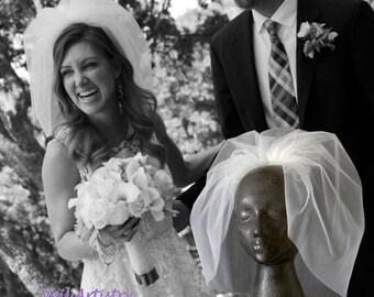 Bridal Veil, Bubble Veil, Short Veil, Bouffant Veil, Flyaway Veil, Full Veil, Made-to-Order Veil, Handmade Veil, Vintage Look Veil