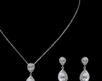 Crystal bridal set wedding teardrop jewellery set pendant necklace drop earrings vintage style bridal necklace