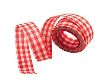 17mm Wide Loose Cut Piece of Synthetic Woven Gingham Ribbon Trim Tape - Red / White (3.36yds)