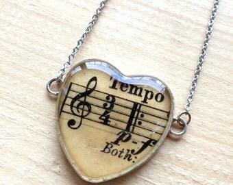 Sheet Music Heart Necklace