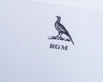 Men's Personalized Notepad Pheasant Hunting Him Her Monogrammed Dad, Husband Gift 75 Sheet Note Pad Country House Woodland Gift Shooting
