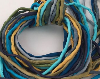 Hand Painted Silk Cord - Hand Dyed Silk - Silk Ribbon - Jewelry Supplies - Wrap Bracelet - Craft Supplies - 2mm Silk Cord Item No.396