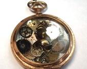 Steampunk Style Clockwork Watch Fox Charm Gears Resin Pendant Necklace OOAK