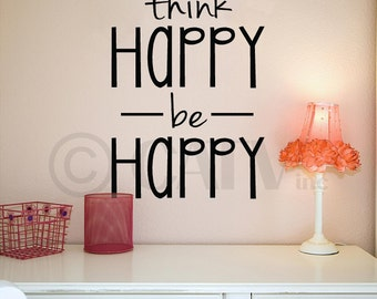 Think happy be happy vinyl lettering wall quote self adhesive sticker decal