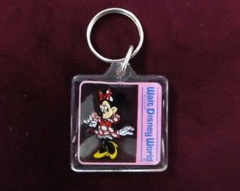Walt Disney World Keychain- Minnie Mouse Keychain- Vintage Keychain, Disney Keychain, Vintage Disney Souvenir, Minnie Mouse Key Ring Fob