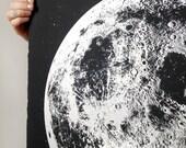 Wall calendar 2017, Moon Calendar 2017, lunar calendar, home decor, Moon Phase Calendars, moon art, silver gold copper large space art print