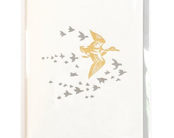 Duck Card, Letterpress Card, Ducks cards, blank greeting cards, Geese Flying in formation, mom card, nature gift, bird lover gift, dad card