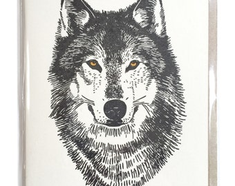 Wolf Card, Letterpress Cards, Wolf Greeting Cards, blank greeting cards, woodland card, card for him, dad card, thank you card, Dire wolf