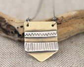 Geometric Necklace, Brass, Silver, Hand Stamped