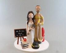 Wedding Cake Topper Custom Firefighter & Teacher