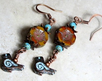 Rustic Fall Earrings, Orange Pansy Flower Czech Glass Earrings, Patina Bird, Bird Earrings, Floral Earrings, Dangle Earrings,Earthy Earrings